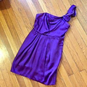 Purple BCBGMaxAzria one shoulder cocktail dress